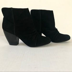 Sugar - Black Suede, Chunky Heeled Booties Size 8